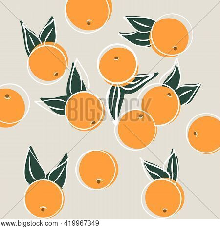 Hand Painted Oranges Fruit Seamless Pattern Design With Citrus Fruit. Fruit Repeated Background. Vec