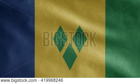 Vincentian Flag Waving In The Wind. Saint Vincent And Grenadines Banner