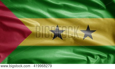 St Lucian Flag Waving In The Wind. Saint Thomas And Prince Banner Blowing Silk.
