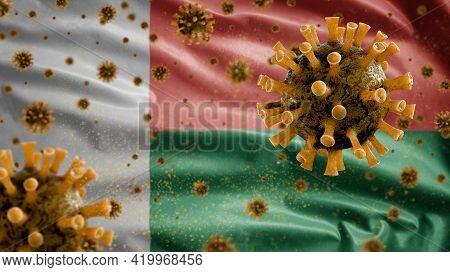 3D, Malagasy Flag Waving With Coronavirus Outbreak. Madagascar Covid 19