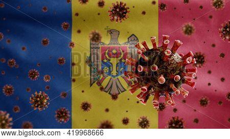 3D, Moldovan Flag Waving With Coronavirus Outbreak. Moldavia Covid 19