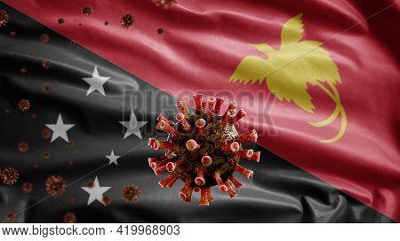 3D, Flu Coronavirus Floating Over Papuan Flag. Papua New Guinea Covid 19
