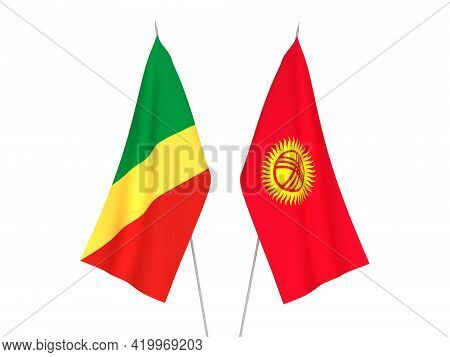 National Fabric Flags Of Kyrgyzstan And Republic Of The Congo Isolated On White Background. 3d Rende