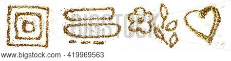Gold glitter and bronze color glitter confetti dot blot. Abstract doodle frame on white background. Collection.