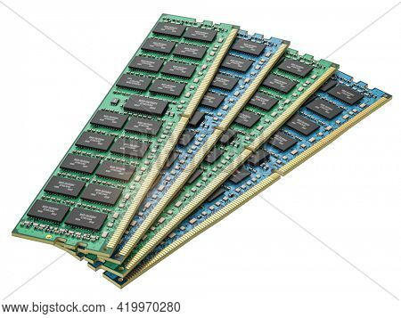 DDR ram computer memory modules isolated on white. 3d illustration