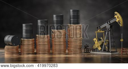 Oil barrels on stack of golden coins and oil pump jack. Growth rise of oil stock prices and growth of extraction concept. 3d illustration