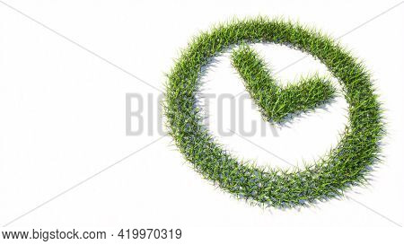 Concept or conceptual green summer lawn grass symbol shape isolated white background, clock icon. 3d illustration metaphor for time, countdown,  chronometer,  business and deadline