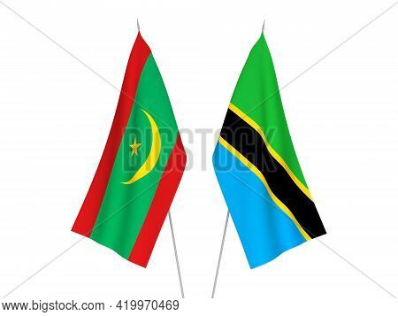 National Fabric Flags Of Tanzania And Islamic Republic Of Mauritania Isolated On White Background. 3