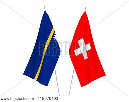 National Fabric Flags Of Switzerland And Republic Of Nauru Isolated On White Background. 3d Renderin