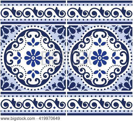Lisbon Azulejo Tiles Seamless Vector Pattern With Frame Or Border, Portuguese Indigo Retro Design Wi