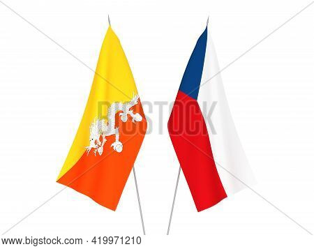 National Fabric Flags Of Kingdom Of Bhutan And Czech Republic Isolated On White Background. 3d Rende