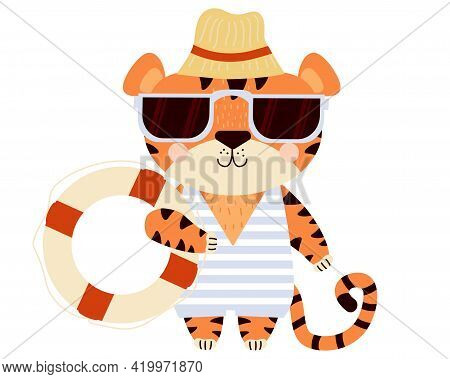 Cute Tiger. Beach Guy - Funny Striped Character On The Beach In Sunglasses, A Hat, A Swimsuit And A