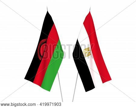 National Fabric Flags Of Egypt And Malawi Isolated On White Background. 3d Rendering Illustration.