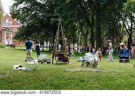 New York City, Usa - June 24, 2018: People Enjoying In Festival On Governors Island. Figment Festiva