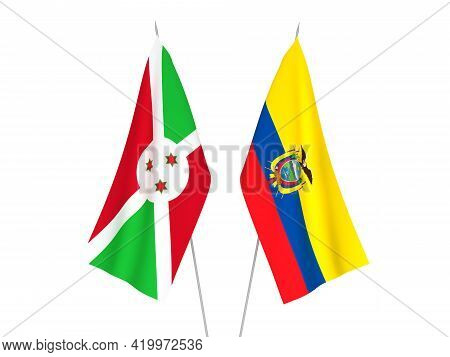 National Fabric Flags Of Ecuador And Burundi Isolated On White Background. 3d Rendering Illustration