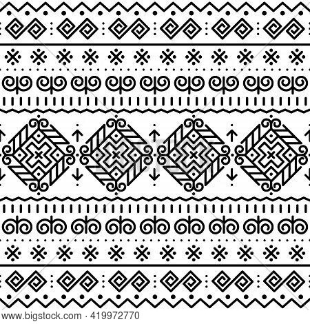Slovak Folk Art Vector Seamless Pattern With Black Ethnic, Tribal Geometric Shapes - Inspired By Tra