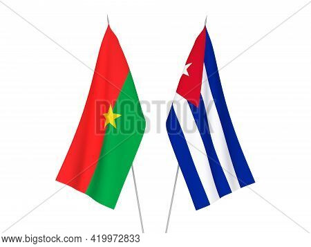 National Fabric Flags Of Cuba And Burkina Faso Isolated On White Background. 3d Rendering Illustrati