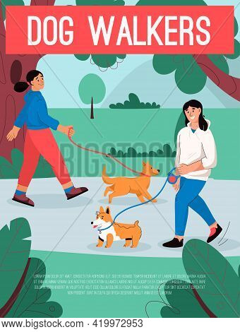 Vector Poster Of Dog Walkers Concept. Female Owners With Pets