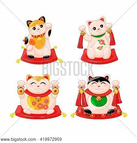 Japanese Collection Of Maneki Neko Cats In The Kartun Style. Traditional White Happy Cat Doll With F