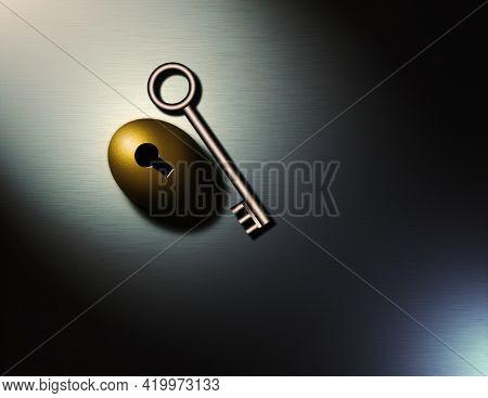 Key to prosperity. Golden nestegg with keyhole. 3D rendering.