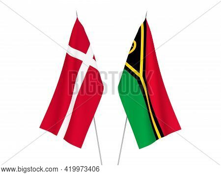 National Fabric Flags Of Republic Of Vanuatu And Denmark Isolated On White Background. 3d Rendering