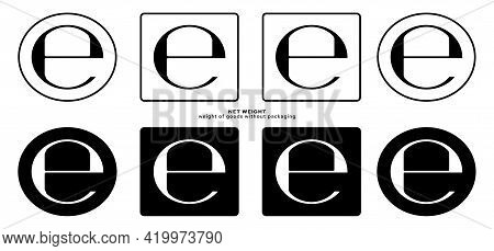 Product Packaging Marking - Product Weight Without Packaging. Net Weight Symbol. Vector Elements.