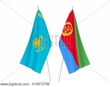 National Fabric Flags Of Kazakhstan And Eritrea Isolated On White Background. 3d Rendering Illustrat