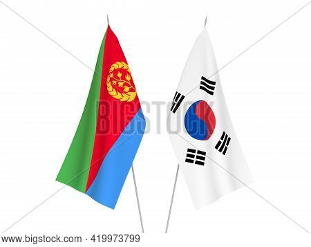 National Fabric Flags Of South Korea And Eritrea Isolated On White Background. 3d Rendering Illustra