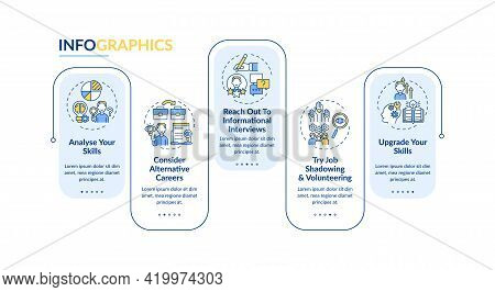 Career Transition Steps Vector Infographic Template. Job Search Actions Presentation Design Elements