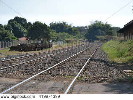 Railroad. Railroad In The Interior Of Brazil, Used For Transporting Cargo And Products In Panoramic