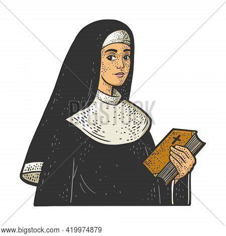 Christian Sister Nun Monk Color Sketch Engraving Vector Illustration. T-shirt Apparel Print Design.