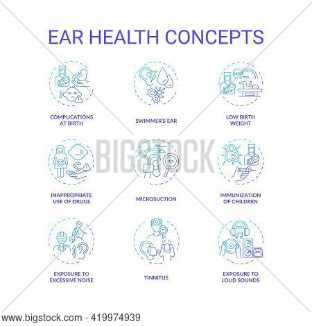 Ear Health Concept Icons Set. Hearing Loss Prevention Idea Thin Line Rgb Color Illustrations. Tinnit