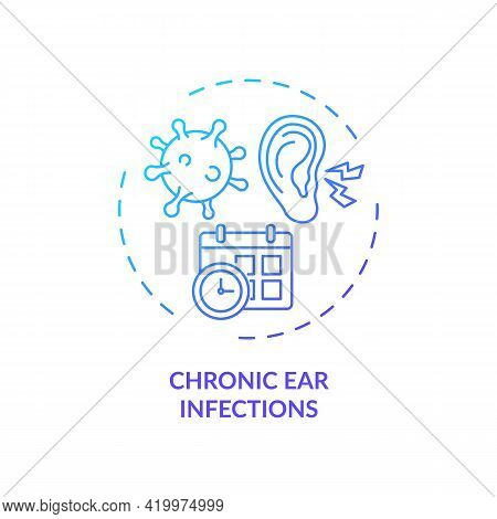 Chronic Ear Infections Concept Icon. Hearing Loss Cause Idea Thin Line Illustration. Permanent, Temp