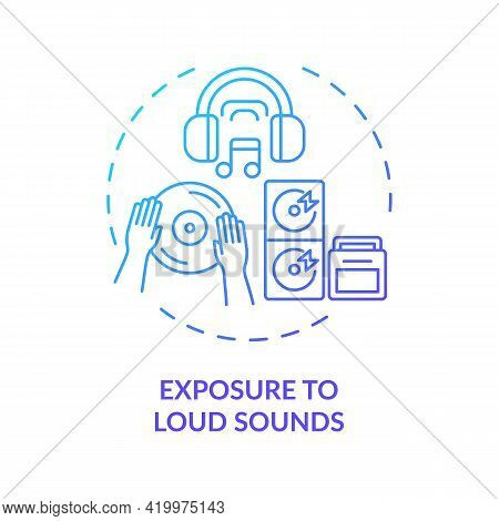Exposure To Loud Sounds Concept Icon. Acquired Hearing Loss Idea Thin Line Illustration. Audio Playi