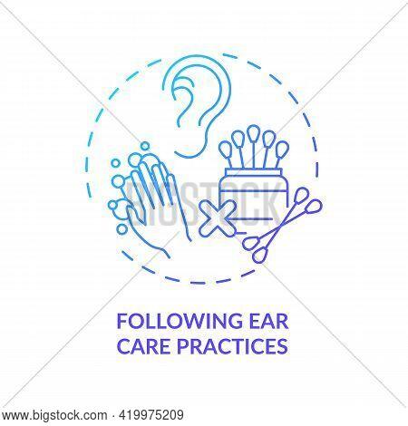 Following Ear Care Practices Concept Icon. Hearing Loss Prevention Idea Thin Line Illustration. Irri