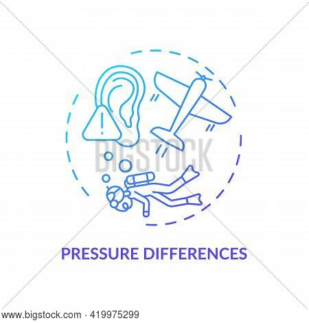Pressure Differences Concept Icon. Top Ear Condition Idea Thin Line Illustration. Discomfort During