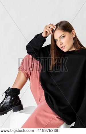 Fashionista woman wearing combat boots