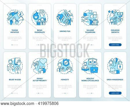 Personal, Company Morals Onboarding Mobile App Page Screen With Concepts Set. Passion, Honesty Walkt