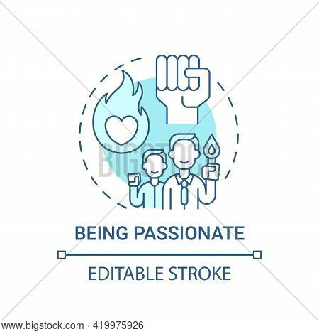 Being Passionate Concept Icon. Corporate Core Value Idea Thin Line Illustration. Building Positive A