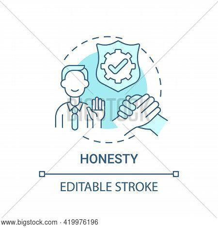 Honesty Concept Icon. Personal Value Idea Thin Line Illustration. Telling Truth. Trustworthy Person.