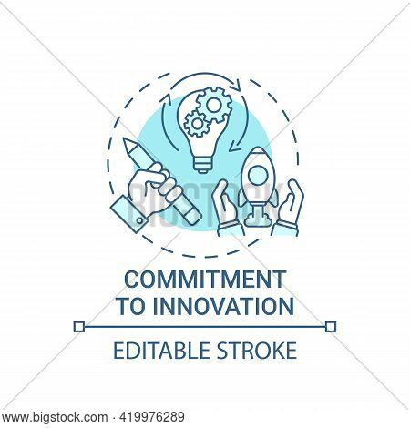 Commitment To Innovation Concept Icon. Transforming New Ideas Into Results Idea Thin Line Illustrati