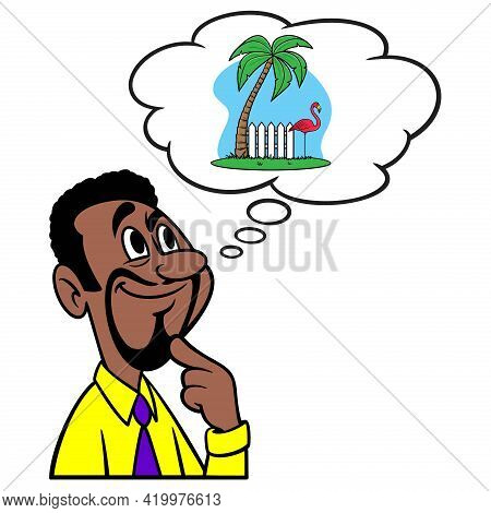 Man Thinking About Retirement - A Cartoon Illustration Of A Man Thinking About Retirement.