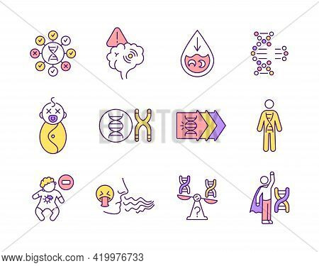 Genetic Diseases Rgb Color Icons Set. Single Gene Disorder. Chromosomal Treatment. Health Care Issue