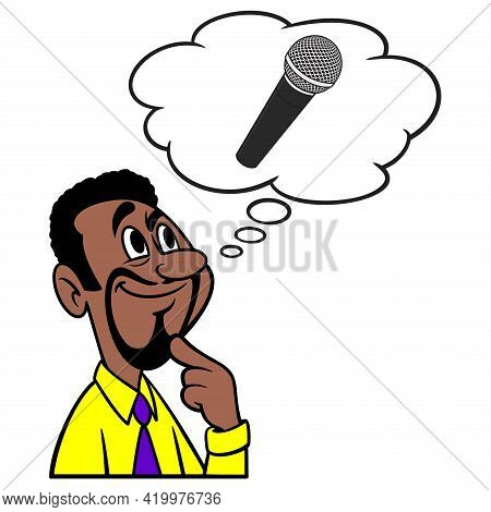 Man Thinking About Singing - A Cartoon Illustration Of A Man Thinking About Singing At Next Karaoke