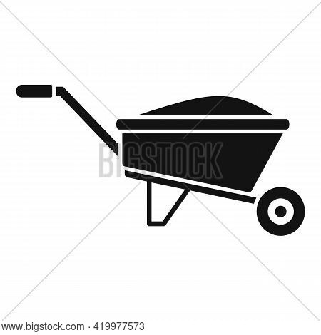Compost Wheelbarrow Icon. Simple Illustration Of Compost Wheelbarrow Vector Icon For Web Design Isol
