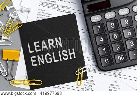 Learn English - Concept Of Text On Sticky Note. Closeup Of A Personal Agenda