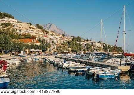 Brela, Croatia - September 5, 2019: Seafront view landscape in Makarska Riviera, Croatia. Popular tourist destination in Southern Europe.