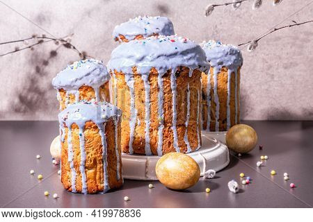Easter Cake With Blue Icing, Topping, Edible Beads