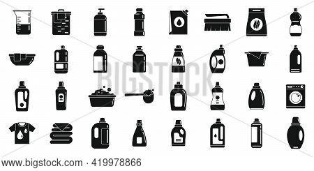 Fabric Softener Icons Set. Simple Set Of Fabric Softener Vector Icons For Web Design On White Backgr