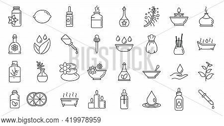 Essential Oils Perfume Icons Set. Outline Set Of Essential Oils Perfume Vector Icons For Web Design